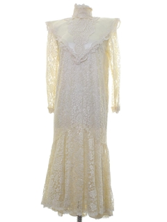 1980's Womens Jessica McClintock Prairie Style Cocktail or Wedding Dress