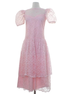 1970's Womens Pretty In Pink Maxi Prom Or Cocktail Dress