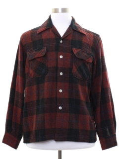 1960's Mens Wool Blend Flannel Board Shirt