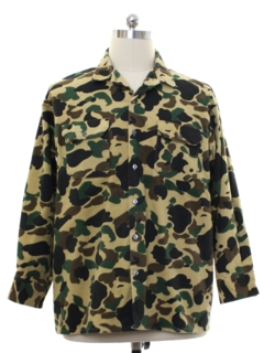 1990's Mens Camouflage Flannel CPO Style Shirt