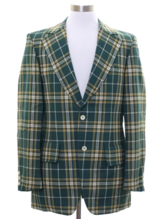 1970's Mens Plaid Blazer Style Sport Coat Jacket