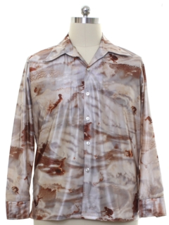 1970's Mens Photoprint Disco Surfer Shirt