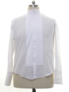 1990's Mens French Cuff Pleated Tuxedo Shirt