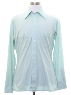 1970's Mens Cotton Blend Solid Disco Style Shirt