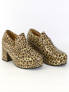 1970's Mens Accessories - Disco Leopard Print Platform Shoes