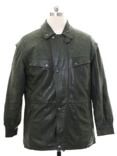 1980's Mens Totally 80s Leather Car Coat Jacket