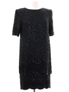 1980's Womens Totally 80s Beaded Cocktail Dress