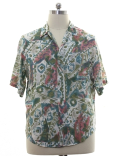 1980's Mens Totally 80s Graphic Print Rayon Shirt