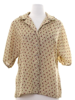 1970's Womens Strawberry Print Hippie Shirt