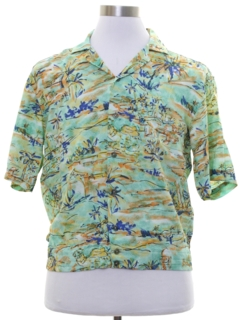 1950's Mens Rayon Hawaiian Shirt Jac Shirt