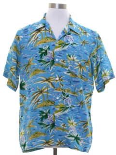 1960's Mens Rayon Hawaiian Shirt