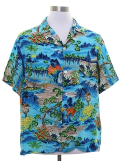 1950's Mens Rayon Hawaiian Shirt