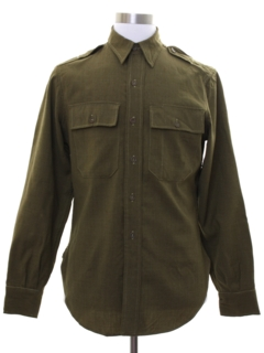1950's Mens Wool Gabardine Military Style Work Shirt