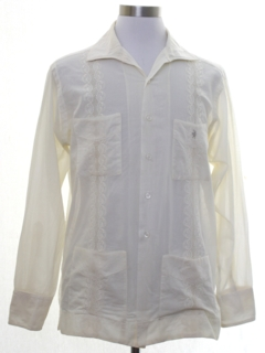 1960's Mens Hippie Style Embroidered Guayabera Shirt