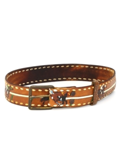 1970's Mens Accessories - Hand Painted Stamped PETE Hippie Belt