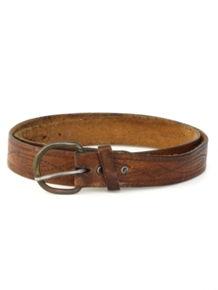 1970's Mens Accessories - Leather Stamped Hippie Belt