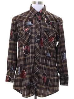 1970's Mens Print Disco Style Western Shirt