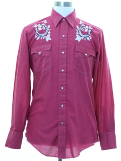 1970's Mens Embroidered Hippie Style Western Shirt