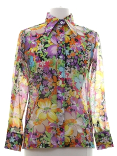 1970's Womens Sheer Hippie Style Print Disco Shirt