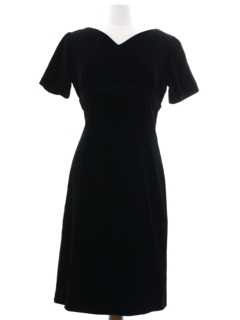 1970's Womens Little Black Velvet Cocktail Dress
