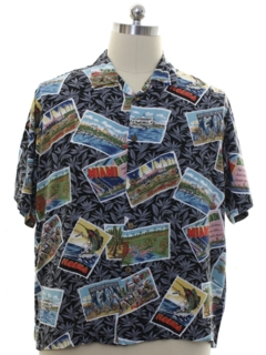 1990's Mens Rayon Graphic Print Sport Shirt