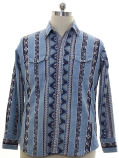 1980's Mens Totally 80s Southwestern Print Western Shirt