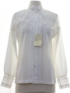 1970's Womens Lace Front Prairie Style Secretary Shirt