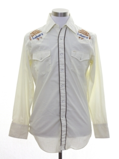 1980's Mens Labatts Beer Hippie Embroidered Western Shirt