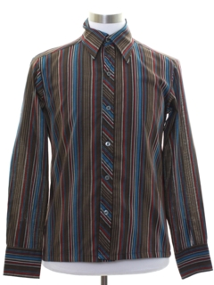 1970's Mens Print Disco Style Cotton Blend Sport Shirt