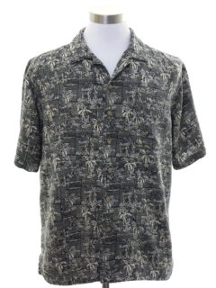 1990's Mens Graphic Print Silk Blend Sport Shirt