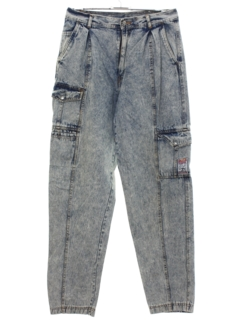 1980's Womens Totally 80s Baggy Acid Washed High Waisted Cargo Denim Jeans Pants
