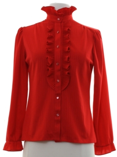 1980's Womens Ruffled Front Style Secretary Shirt