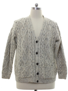 1990's Mens Cable Knit Cardigan Sweater