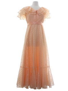 1980's Womens Prairie Style Prom Or Cocktail Dress