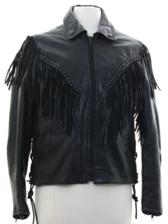 1990's Womens Fringed Western Style Motorcycle Leather Jacket