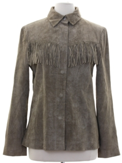 1990's Womens Fringed Suede Leather Jacket
