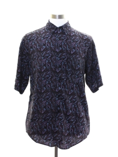 1980's Mens Totally 80s Rayon Graphic Print Shirt
