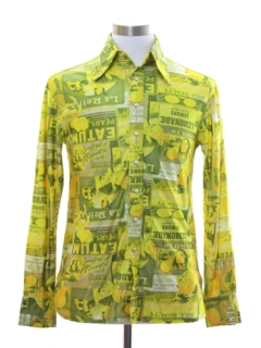 1970's Mens Western Style Photo Print Disco Shirt