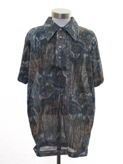 1970's Mens Resort Wear Print Disco Shirt