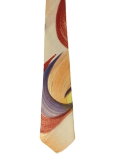 1940's Mens Wide Hand Painted Swing Necktie