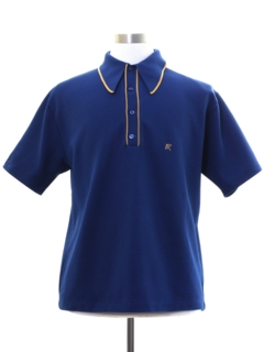 1970's Mens Mod Knit Polo Style Golf Shirt