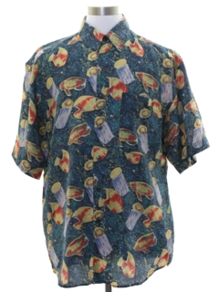 1990's Mens Silk Graphic Print Sport Shirt