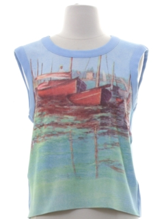 1970's Womens Graphic Print Knit Tank Top T-shirt