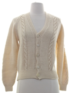 1980's Womens Hand Knit Cardigan Sweater