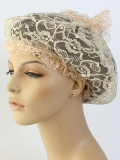 1960's Womens Accessories - Lace Hat