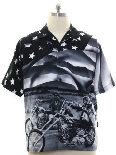 1990's Mens Motorcycle Print Club/Rave Style Sport Shirt