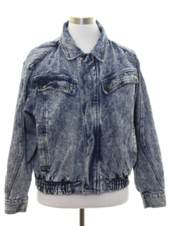 1980's Mens Totally 80s Style Acid Washed Denim Jacket