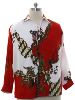 1980's Mens Silk Blend Ethnic Style Club Shirt