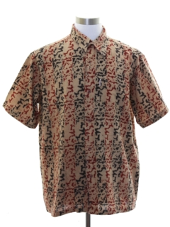 1980's Mens Graphic Print Sport Shirt