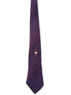 1950's Mens Embroidered Pleated Necktie
